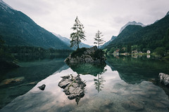 The islands of lake Hintersee. (Bokehm0n) Tags: landscape nature vsco explore flickr earth travel folk 500px water mountain no person lake rock scenic vscofilm bavaria germany river outdoors tree reflection sky tourism valley