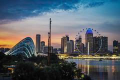 Light Spectrum (elenaleong) Tags: f1 marinabarrage lightspectrum sundown sunset dusk cityscape architecture singaporeskyline singaporeflyer reflections elenaleong marinabay