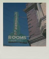 Fitzgerald (DavidVonk) Tags: vintage instant analog film polaroid sx70 sonar impossibleproject neon neonsign ghost ghostneon ghostsign hotel motel rooms rusty brick
