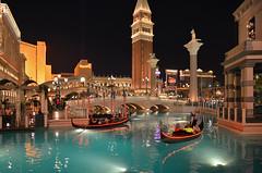 Vegas Venetian (dr_marvel) Tags: nevada lasvegas vegas water venetian gondola neon lights night evening striped tower harrahs italy italian gambling casino boats canal pole