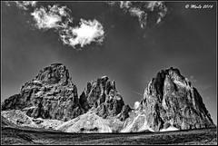 Sassolungo (Maurizio Longinotti) Tags: sassolungo sassopiatto dolomiti valdifassa valgardena biancoenero blackandwhite sudtirol passosella sellajoch altoadige italia italy sky cielo nuvole clouds