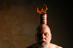 Balancing a Flaming Can of Wolf Brand Chili on my Head at 900 PM in Recognition of the Standing Rock Sioux (Studio d'Xavier) Tags: werehere flickrofflames standingrocksioux stuffonmyhead wolfbrandchili 365 september82016 252366 strobist fire flame chili