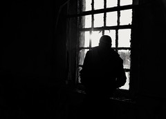 Patient (Gareth Priest) Tags: portrait silhouette bw window highcontrast mood man person light dark mysterious atmosphere
