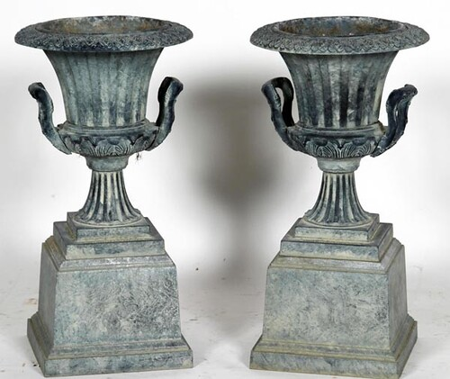 "Pair of Virginia Metal Crafters 26"" Tall Urns w/ Handles ($532.00)"