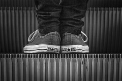 ALL STAR (only one point of view) Tags: white black youth shopping shoes escalator grayscale schwarz trier weis treves
