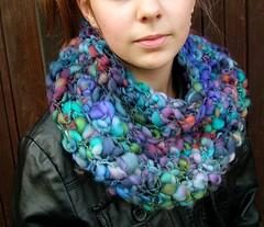 Crochet neck warmer from merino 21 mic superwash (B.ea) Tags: superwash wheel scarf neck handmade crochet merino yarn spinning renata warmer handspun crocheting bea holkov