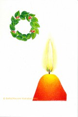 2012_11_11_candle_01 (blue_belta) Tags: christmas red orange holiday art sketch candle drawing wreath  coloredpencil
