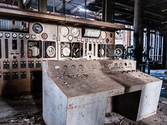 This is central control (lansiar) Tags: plant abandoned broken lumix power control board machine maryland panasonic machinery urbanexploration electricity powerplant ue urbex gf1