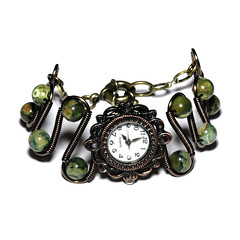 Steampunk Victorian Jewelry - Copper - Working watch bracelet -Green Rainforest Jasper (Catherinette Rings Steampunk) Tags: stone wire rainforest jasper natural watch jewelry jewellery bracelet etsy deviantart steampunk