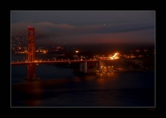 Golden Gate South (Seeing Things My Way...) Tags: sanfrancisco california bridge usa mist reflection water fog lights harbour goldengatebridge goldengate sanfranciscobay marinheadlands