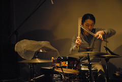 Test Tone 77:  | Hattori Masatsugu +  | Ikezawa Ryusaku (hermetic tin drum) Tags: music japan musicians tokyo dance superdeluxe experimental livemusic free improvisation electronica noise visualart soundart testtone freejazz sonicarts soundispatch