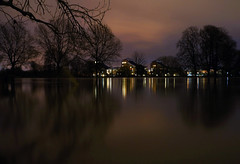 Flood (HannahGE) Tags: longexposure reflection water thames night river reading lights still flood smooth slowshutter berkshire caversham kingsmeadow