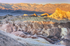 Zabriskie Point Sunrise (wellscenephotography (ON)) Tags: usa rock sunrise point landscape death nikon colorado colorful desert nevada formation valley zabriskie 2012 d800 manlybeacon