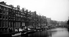 Canal Houses along the Southern Herengracht (William J H Leonard) Tags: city autumn houses blackandwhite bw panorama holland building monochrome dutch amsterdam architecture buildings canal thenetherlands citylife canals nederlands citycentre herengracht noordholland canalhouses northholland blackwhitephotos southerncanals