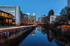 Irwell River Manchester (Shahid A Khan) Tags: new city uk bridge england sky urban panorama reflection water skyline architecture modern buildings river manchester photography dawn canal twilight flickr apartments cityscape forsale shot nightshot image dusk walk picture bridges nobody pic images clear bluehour copyspace citycentre irwell 2470f28 canon5dmark2 shahidakhan sakhanphotography