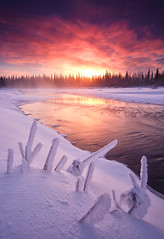Gentle Flow (Wolfhorn) Tags: winter sunset snow cold ice nature water river flowing verycold alaskawildernesslandscape