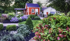 The Guest House (Sonia'sGallery) Tags: canada chesterbasin flickr flickrsoniaargenio flickrsoniasgallery flowers garden green guesthouse novascotia outdoor red soniaargenio yard bysoniaa outdoorgarden patio cottage garage landscape mulch