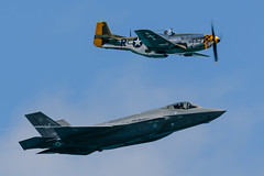 F-35 and P-51 Heritage (aareguitar) Tags: airandwatershow jets chicago f35 p51 heritageflight stealth