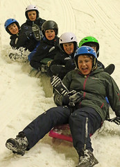Fun on the slope (Wilamoyo) Tags: snow sport fun family friends kids party ice helmets cold freezing birthday together slippy sledge slide