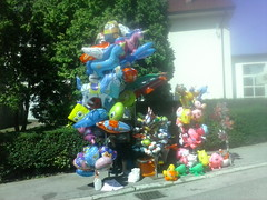Balloon Seller 7 (Kiki1185) Tags: marija bistrica croatia balloon balloons inflatable inflatables hrvatska may 2015 seller sellers smurfs frog spongebob cat pink colorful outdoor hello kitty tweety vendor vendors