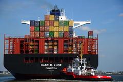 Union Koala and UASC Al Khor DST_4760 (larry_antwerp) Tags: technomar uascalkhor uasc 9710220 tug sleepboot      antwerp antwerpen       port        belgium belgi          schip ship vessel        schelde