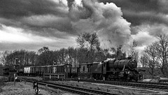 In bad light (Peter Leigh50) Tags: 8f 48624 swithland great central railway winter gala 2015 gcr leicestershire steam mono monochrome blackandwhite