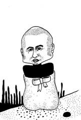 (rakef) Tags: man bald sack bow tie trapped sad alone beard outdoors turtle neck dots dot illustration