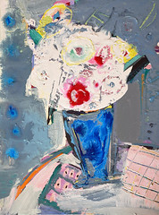 abstract vase of white flowers (amaradacer) Tags: painting abstract stilllife vase blue flowers bouquet figurative contemporary amaradacer modern grey white red art acrilyc mixedmedia