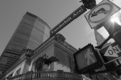 (Met)Life (matteococco) Tags: ny newyork grandcentral metlife bw blackandwhite biancoenero skyscraper grattacielo midtown signs chryslerbuilding
