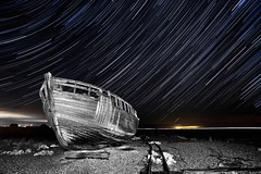 Boat trails (Nathan J Hammonds) Tags: star trail dungeness boat night nikon d750 monochrome different wreck kent