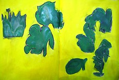 green floating in the yellow (raumoberbayern) Tags: abstract acryl acrylic malerei painting yellow gelb robbbilder green grn sketchbook skizzenbuch