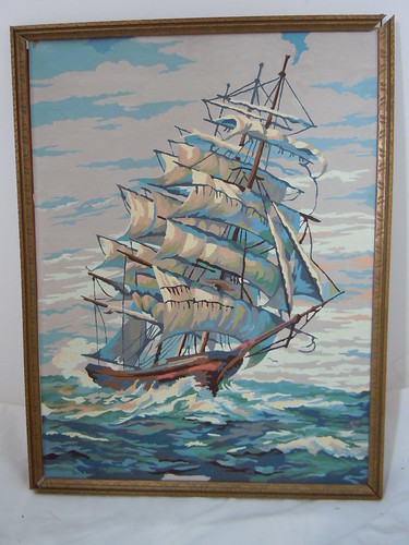 Vintage Paint by Number Clipper ship #2