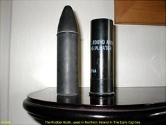 Northern Ireland.- The Rubber Bullet. (mrvisk) Tags: troubles guns arms ulster riots police army british ruc caseing belfast streets injury death irish hurt sadness history pic mrvisk old outdoor ammunition ammo 1970s indoor 1980s