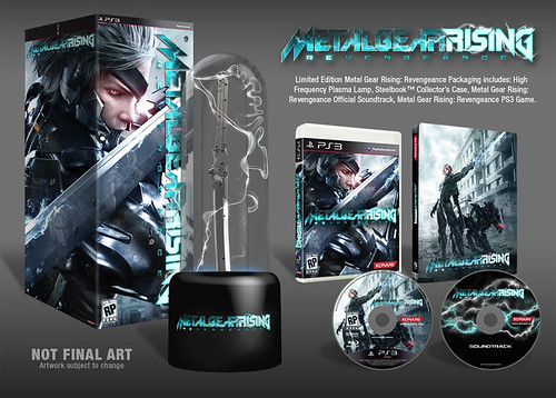Metal Gear Rising: Revengeance Limited Edition Package . Limited Edition includes a full copy of the game, official soundtrack, Limited Edition 2-sided Steelbook, and an exclusive high frequency katana blade plasma lamp