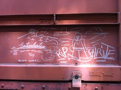 (Hellacious Hayley) Tags: train graffiti streak tag rip freight phrite moniker hellacious benching