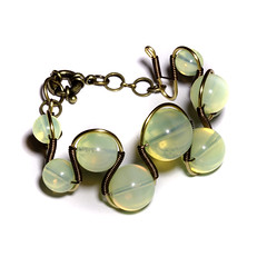 Jewelry - Bracelet - Green Opalite (Catherinette Rings Steampunk) Tags: wire jewelry jewellery bracelet etsy deviantart steampunk