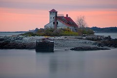 Wood Island Life Saving Station - in explore, front page (SunnyDazzled) Tags: ocean wood longexposure pink sunset sky coastguard rescue seascape building history abandoned water station reflections island evening coast marine empty maine lifesaving lifesavingservice takenin3layers