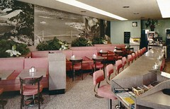 Charlie's Park-In Restaurants San Francisco CA (Edge and corner wear) Tags: life california ca bridge vintage restaurant golden photo pc mural gate interior postcard chrome valley yosemite jukebox savers wal lifesavers