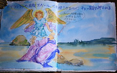 Le Mont Saint Michel (noriko.stardust) Tags: trip vacation holiday france art saint illustration angel watercolor notebook michael drawing diary journal craft blogger story watercolour draw michel normandy mont archangel vacance 2012 jourey notebookism