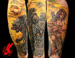 Warrior Medieval Tattoo by Jackie Rabbit (Jackie rabbit Tattoos) Tags: city woman sexy tattoo star virginia fight cool ancient wolf colorful good awesome great evil battle medieval fantasy roanoke va armor warrior jackierabbit