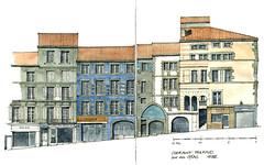 Clermont-Ferrand, rue des Gras (gerard michel) Tags: france architecture sketch auvergne clermontferrand croquis élévation