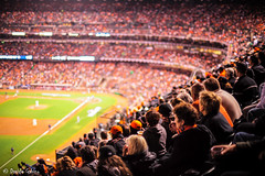 Let's go Giants! (Strlicfurln) Tags: sanfrancisco california street orange usa holiday sport america evening aperture unitedstates baseball bokeh stadium crowd full zuiko arancione sanfranciscogiants attstadium bokehlicious zuiko50mmf12 mygearandme