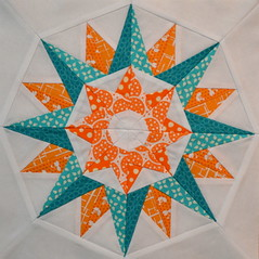 Block for mollyjolly (jenjohnston) Tags: orange star turquoise compass quiltblock paperpieced quiltingbee 4x5bee