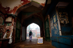 Entering a mosque (BDphoto1) Tags: new two people india color horizontal architecture religious delhi indian muslim islam streetphotography mosque photograph archway ethnic cultural placeofworship