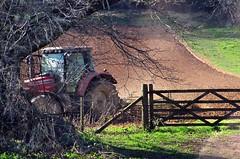 Devon's dust (Dazzygidds) Tags: tractor fence walking gate devon lensflare framing risingdust devonfield tillingtheland dartingtoncountryestate devontractor