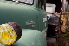 Yellow Reflector (Bridge356) Tags: old ohio fish detail green chevrolet yellow truck outside state display rusty toledo farms reflector basspro 6400 divisionofconservation