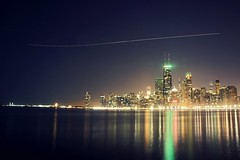 (Joshua Mellin) Tags: christmas city winter lake chicago skyline night lights lakemichigan christmaslights jettrail 2012 chicagoskyline timedexposure chicagoist