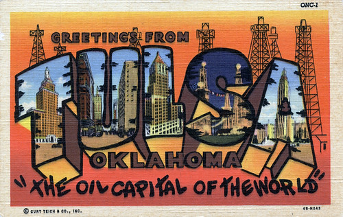 "Greetings from Tulsa, Oklahoma, ""The Oil Capital of the World"" - Large Letter Postcard"