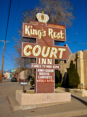 King's Rest Court, Santa Fe, NM (Robby Virus) Tags: newmexico santafe sign court tv inn neon king beds motel cable queen kings rest crown arrow weekly hbo rates espn carports