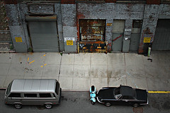 Matchbox Cars (mike_cala) Tags: street city nyc cars rooftop ariel architecture buildings vespa